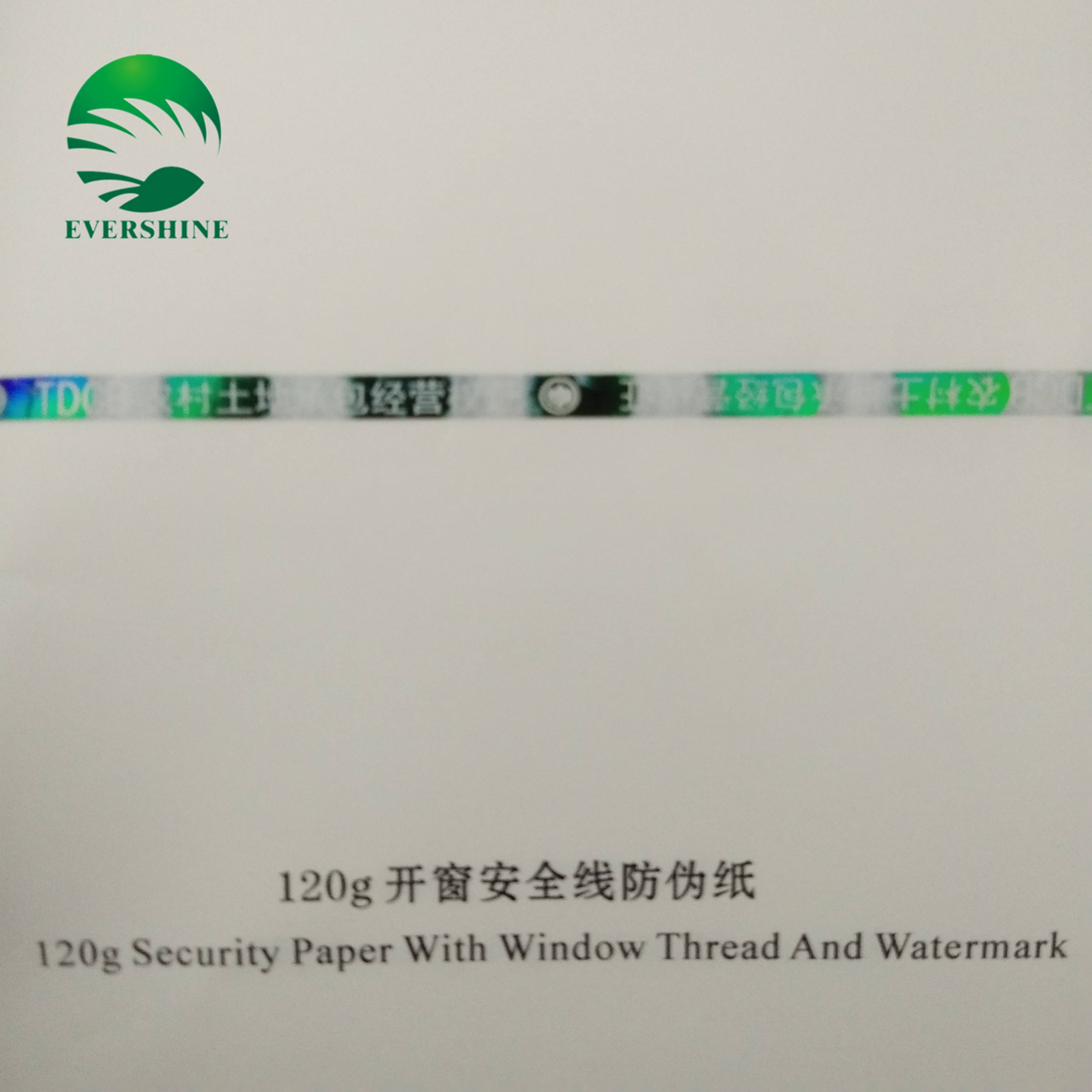 Anti-false paper with window thread and watermark certificate paper