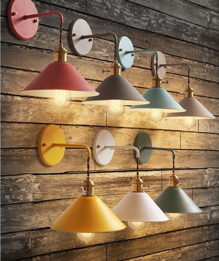 Colorful E27 modern industrial loft rustic metal wall lamp sconce