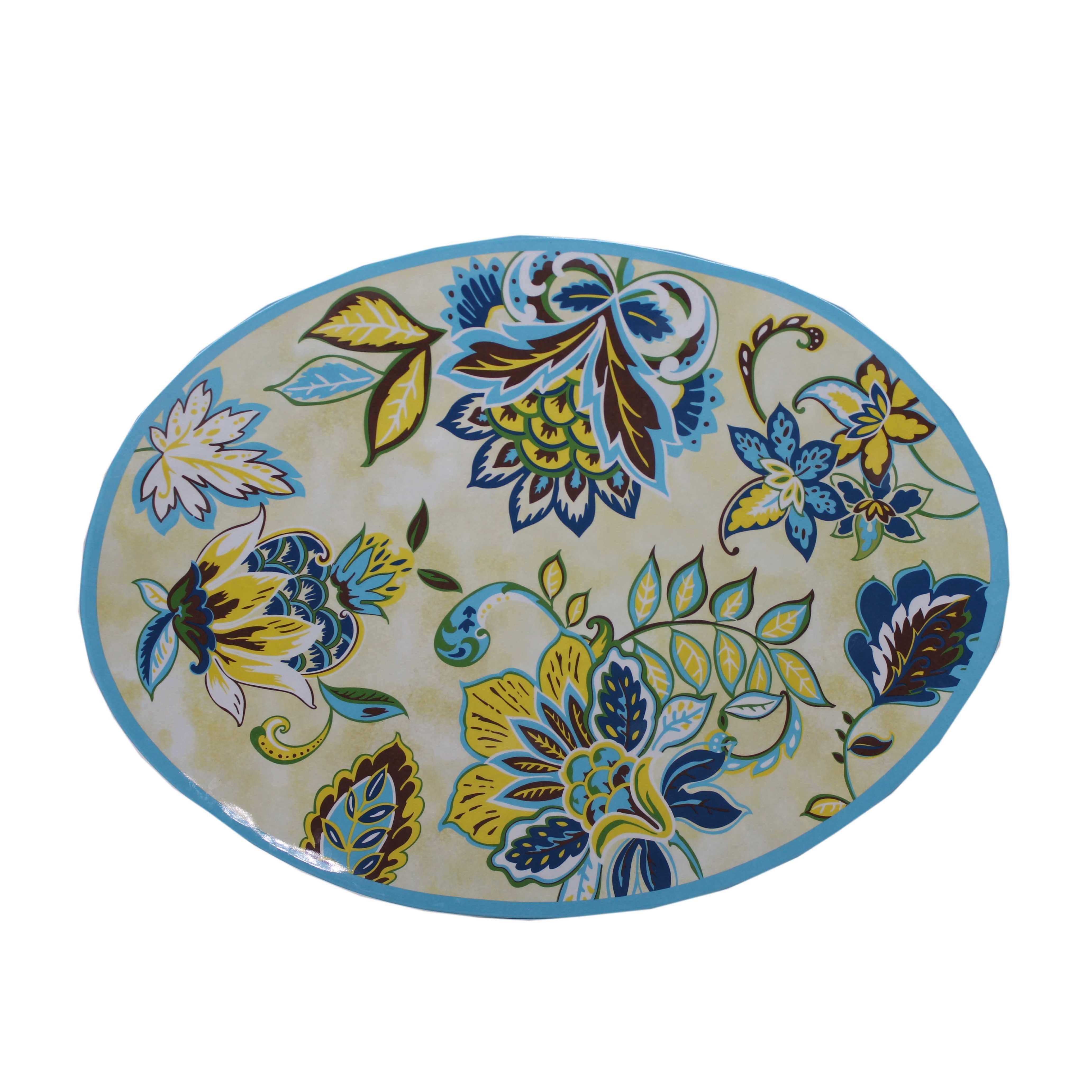 18 inch Flower print oval portion plastic serving plate melamine plates china dinner ware