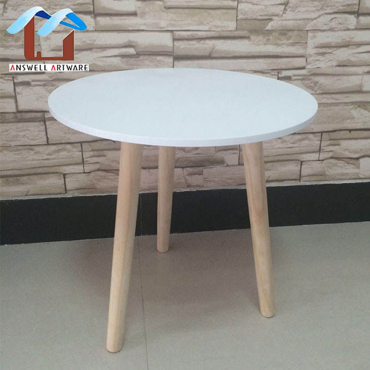 Modern Simple Home Three Feet White Round Wooden Side Coffee Table