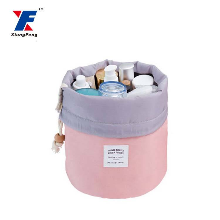 wholesale barrel shaped travel round drawstring cosmetic bag
