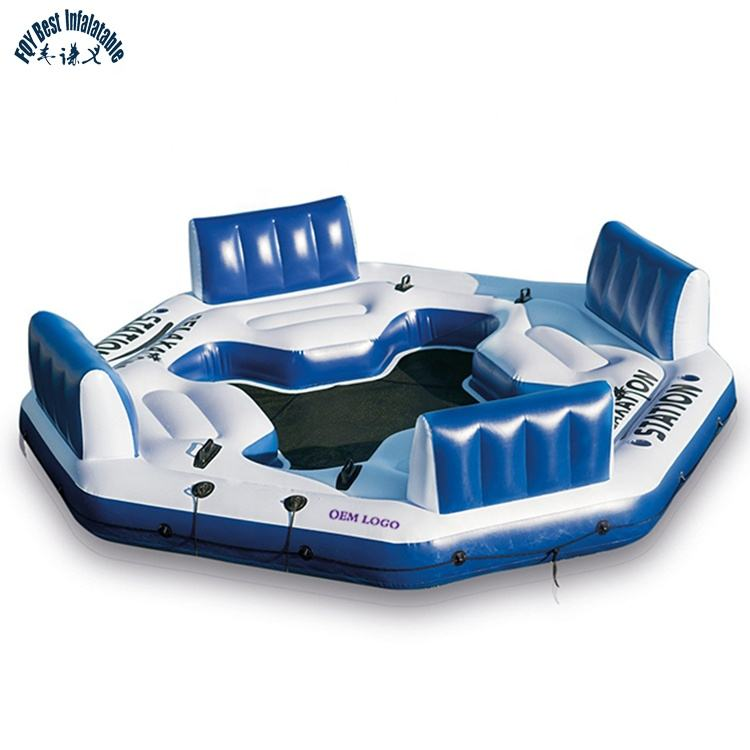 4 Người Swimimming Đảo Nổi Lounges <span class=keywords><strong>Inflatable</strong></span> <span class=keywords><strong>Bè</strong></span> Cho Hồ