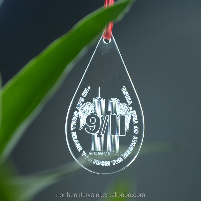 Picture Laser Engrave Water Drop Christmas tree ornaments Glass Ornament