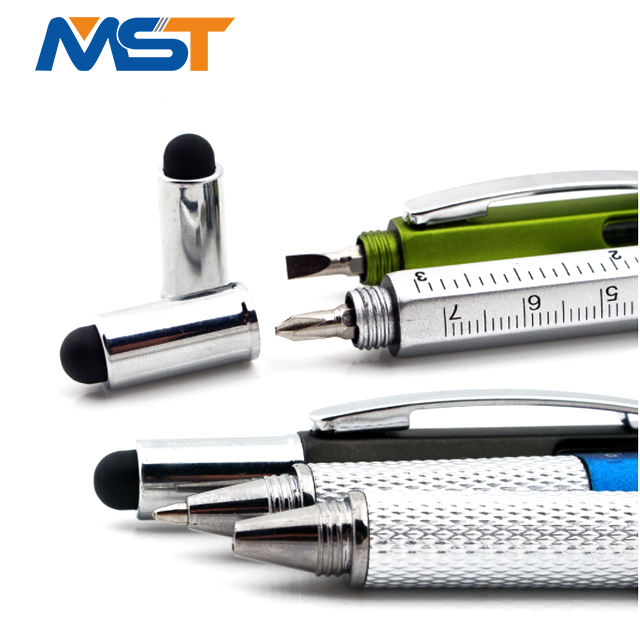 Factory manufacture wholesale 6 in 1 ballpoint metal screw tool pen for advertising gifts