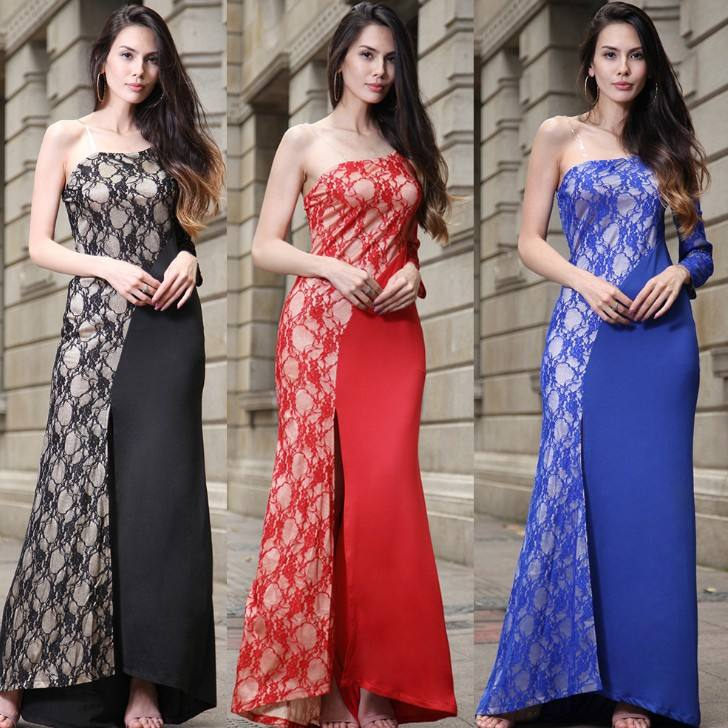 Zm23311a high end mode panjang evening dress wanita wanita western gaun desain