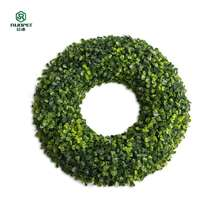 Cheap price plastic boxwood decorative artificial green grass wreaths for wholesale