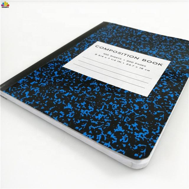Marble Note Books 9-3/4 x 7-1/2 Wide College Ruled Composition 200 Pages Blue Composition Notebook