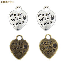 Mini Zinc Alloy Antique Silver Gold Bronze Heart Made with Love Charm Pendant for Necklace Bracelet Jewelry Making Findings