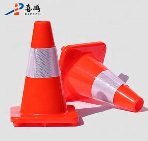 30cm Fluorescent Orange PVC Road Traffic Cone With Reflective Tape