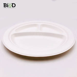 Biodegradable Compostable Disposable Waterproof Eco-Friendly 3-Compartments 9 10 inch Round Sugarcane Plate