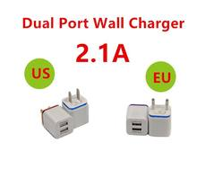 Wholesale 50Pcs/Lot Portable EU US Plug 5V 2.1A Universal Dual Port USB Travel Wall Charger Adapter For iPhone For Samsung