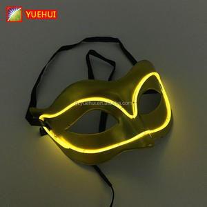 핫 sales 패션 할로윈 Lemon Green Fox 마스크 EL wire Masks 자 DJ 춤 카니발 Masks By 3 볼트 Sound active Driver