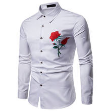Wholesale Autumn Long Sleeve Cotton Shirt Men Rose Embroidered White Dress Shirt