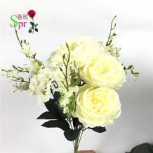 SPR Cheap wholesale artificial silk rose bud flower mini bouquet for party home decorative flowers arrangement