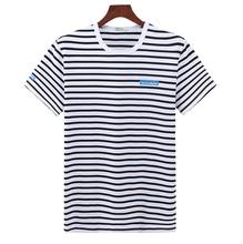 Custom logo casual round neck printing stripe t shirt men t-shirts