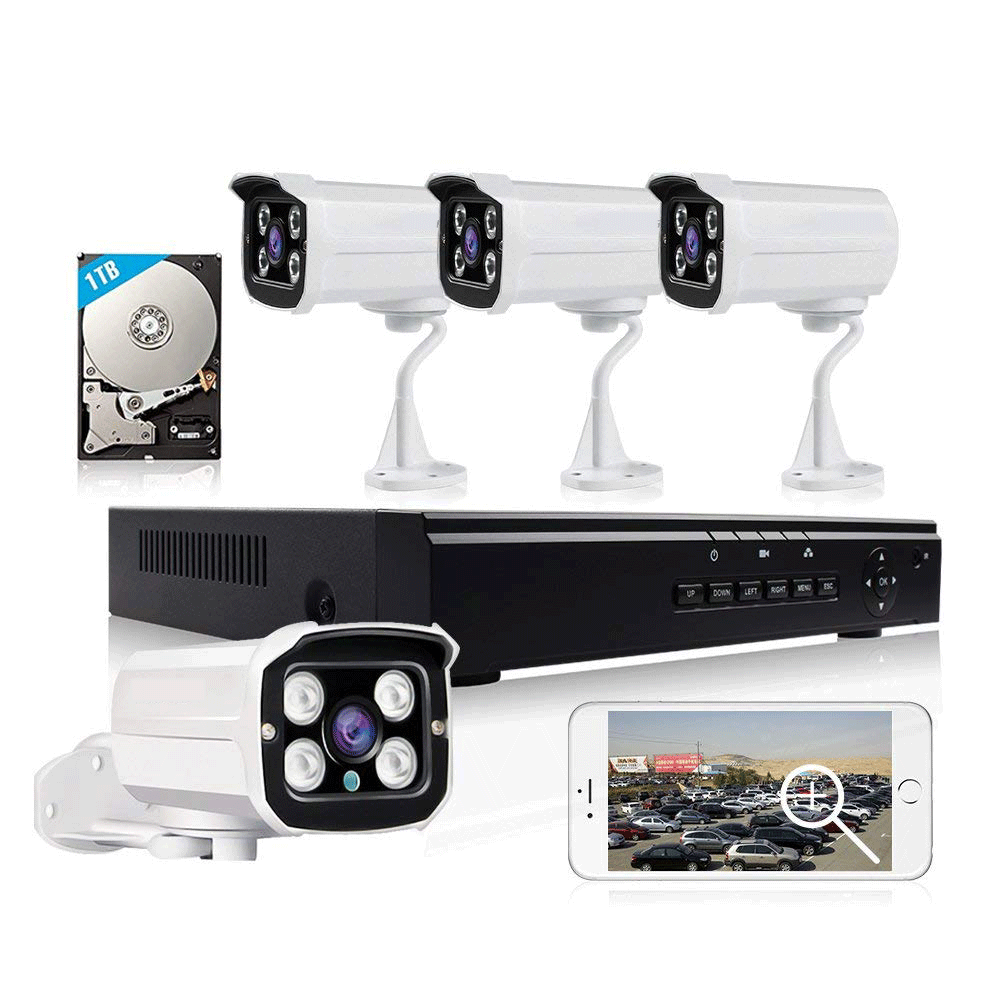 Loosafe 4ch 2mp poe cctv nvr Kit Built In 1tb Hard Drive Security Camera System Outdoor Nvr Kit 4 Cameras