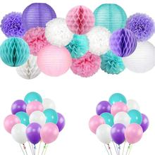 Umiss Mermaid Birthday  Party Supplies   Decorations Tissue Pom Poms, Paper Lantern   Set for Girls Baby shower