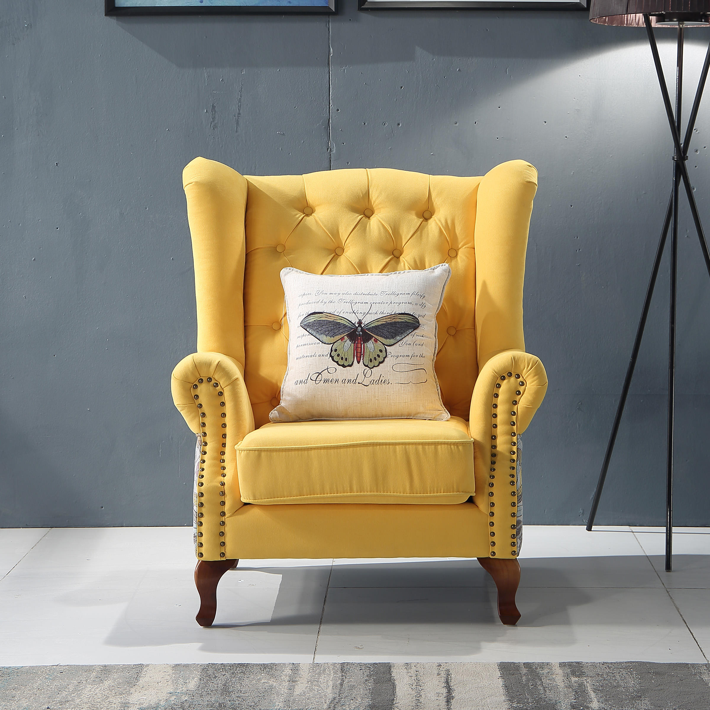 American Style Classic Design Furniture Recliners Modern Tufted Accent High Back Wing Arm Chair Single Sofa