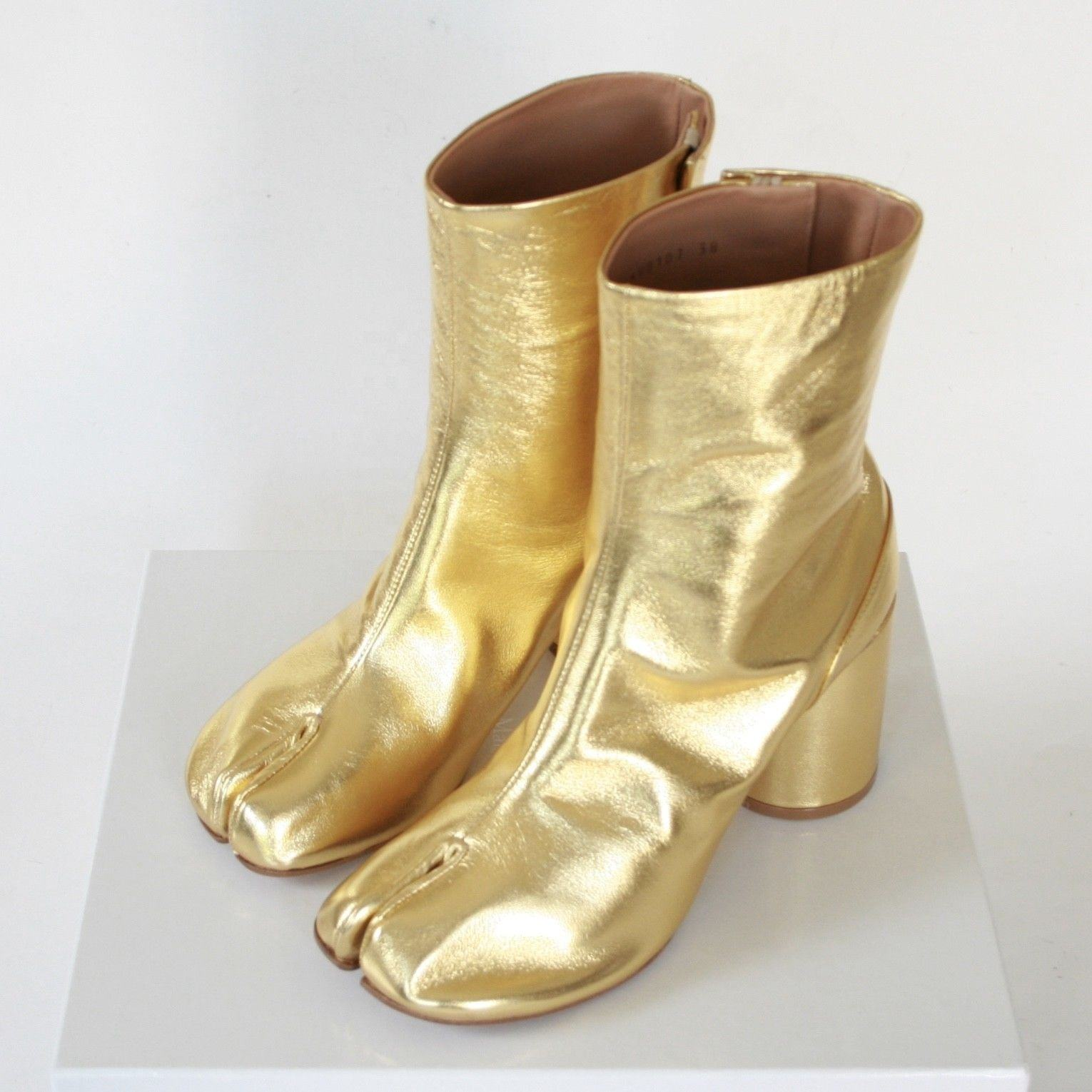 Japanese Style Tabi Split Toe Gold PU Leather Womens High Heel Boots