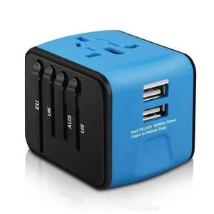 Universal AU EUA REINO UNIDO DA UE Adaptador de Viagem Plug All in one Power Adapter com Dual USB Universal Adaptador