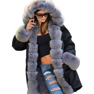 6Color S-5XL Plus Size Women Clothing Thick Hooded Coats Luxury Fur Collar Parkas Winter Warm Coat Fashion Lady Outwear