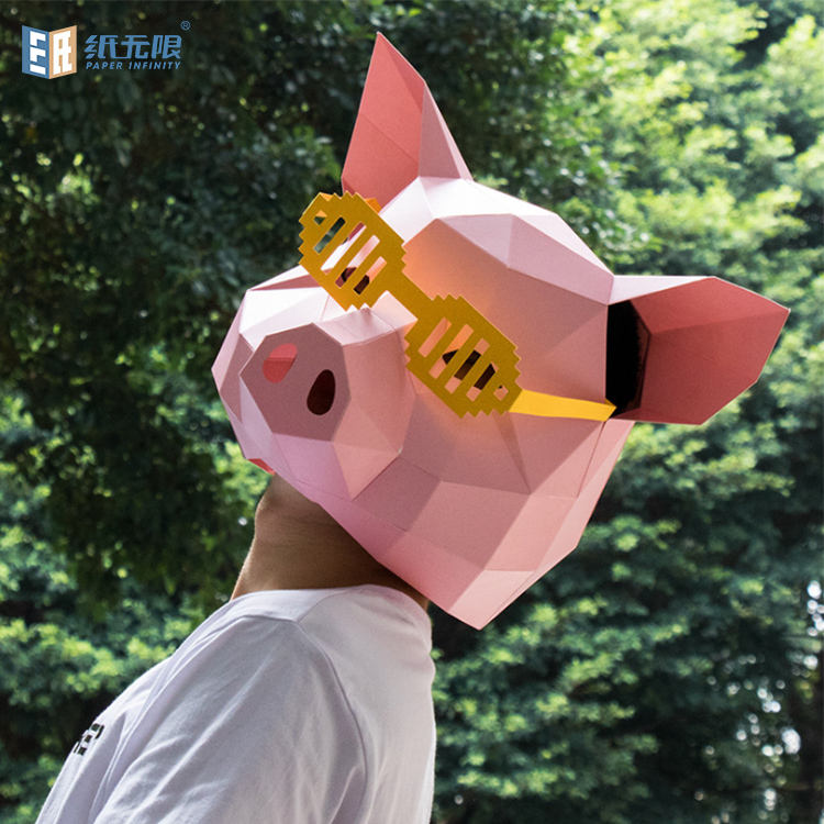 Custom design 3d paper craft mask eco friendly full head mask for halloween party