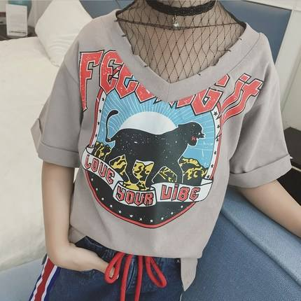 Wholesale Alibaba Tagless T Shirts KidのV Neck Patch Work Multi Colored T Shirts