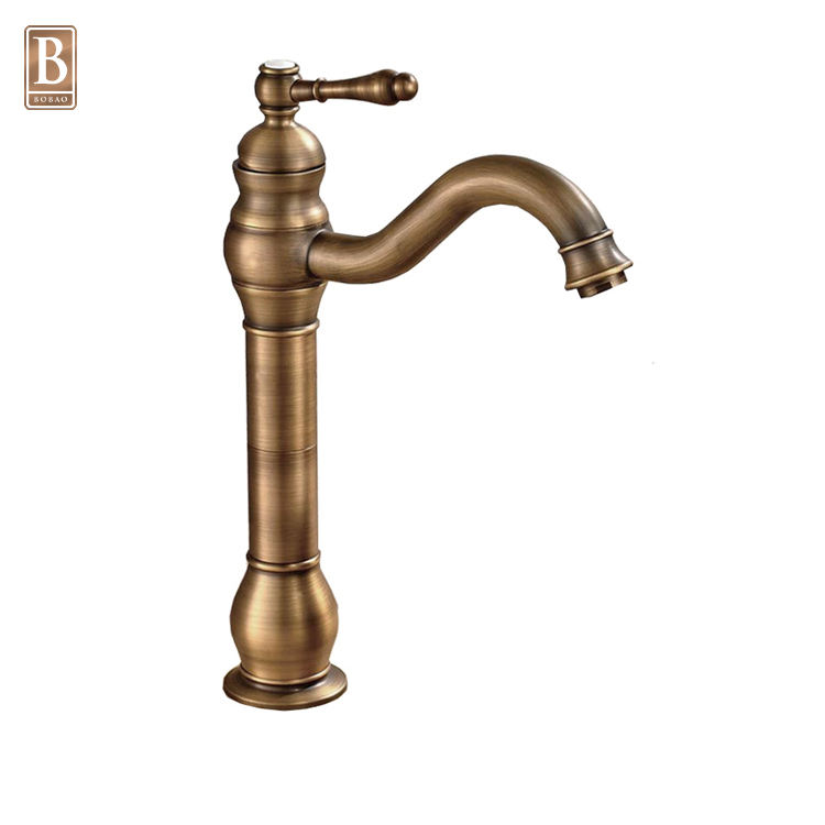 2018 New Arrival Tall Body Single Handle Antique Brass Sink Faucet Bronze Basin Faucet