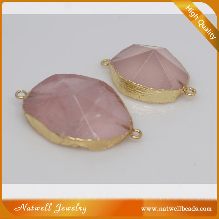 Gold Plated Pendatn Natural Faceted Rose Quartz Color Pendant