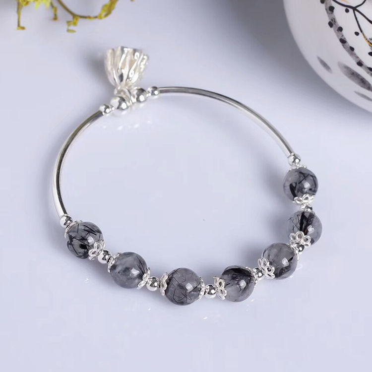China artificial jewellery women factory 925 silver plated natural black quartz rutilated beaded bracelet for female