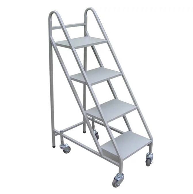 Metal heavy duty white black library book shop use 4 steps ladder