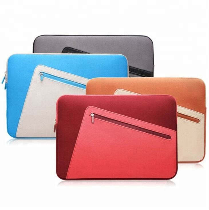 Atacado Personalizado PU LEATHER Laptop Sleeve Case 7 8 9.7 10 13.3 14 15 15.6 Luva Do Portátil 15.6 Saco Zipper neoprene Para Macbook Pro