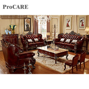 2020 new designs leather wooden sofa set with coffee table