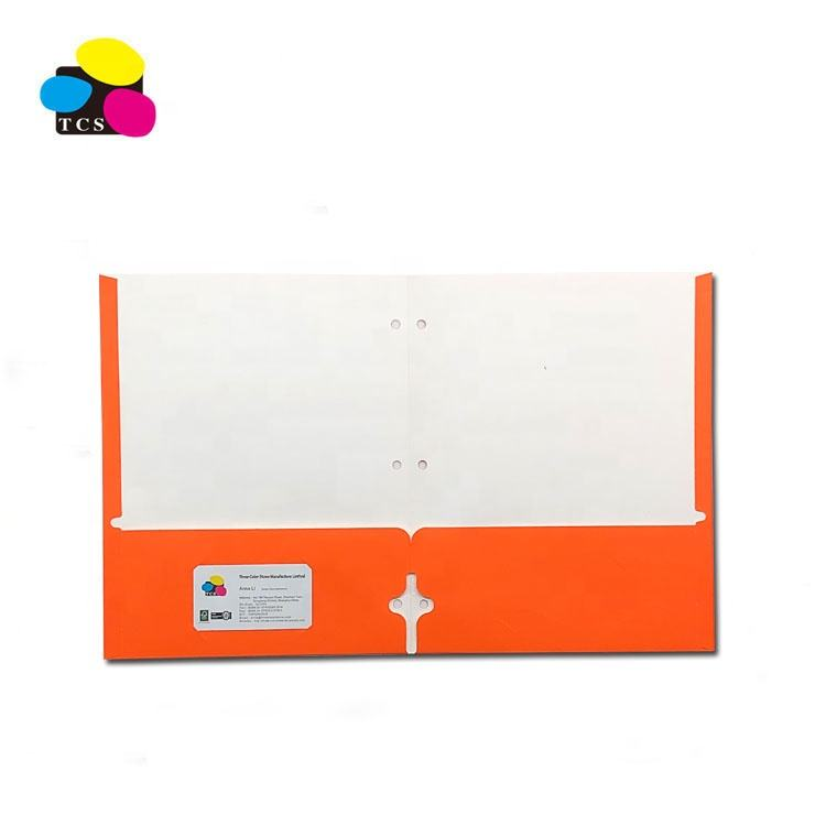 ECO-Friendly Lehui High Quality Letter A4 Size Orange Two Pockets Paper File Folder