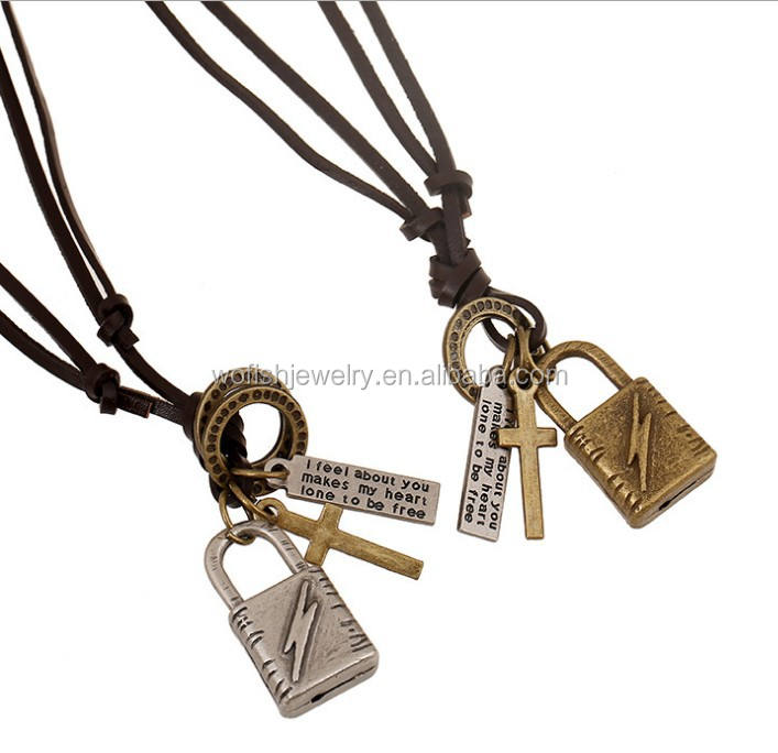 Genuine leather chain vintage padlock pendant Necklace