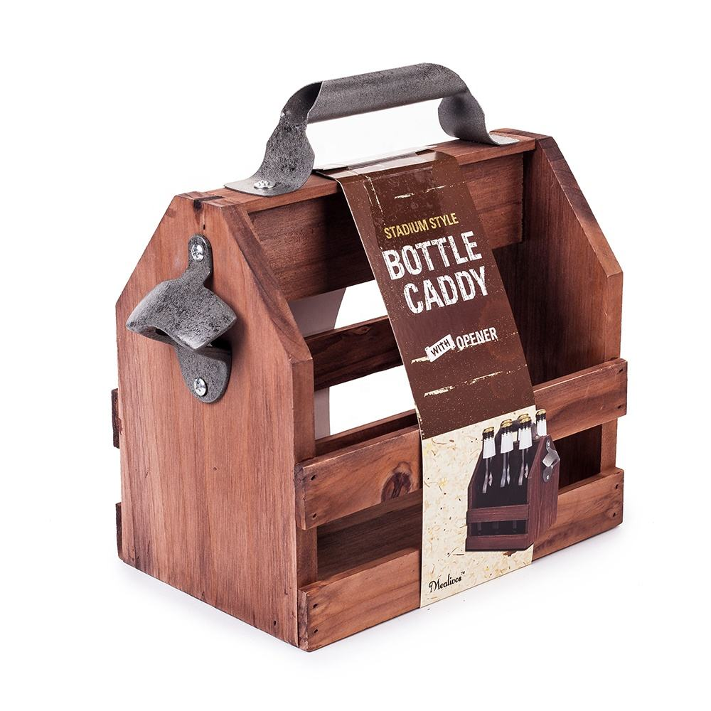 Best Man Cave Gift for Father's Day 6 Pack High quality beer Bottle caddy carrier wooden beer caddy