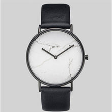 White Stone Black Leather Watch