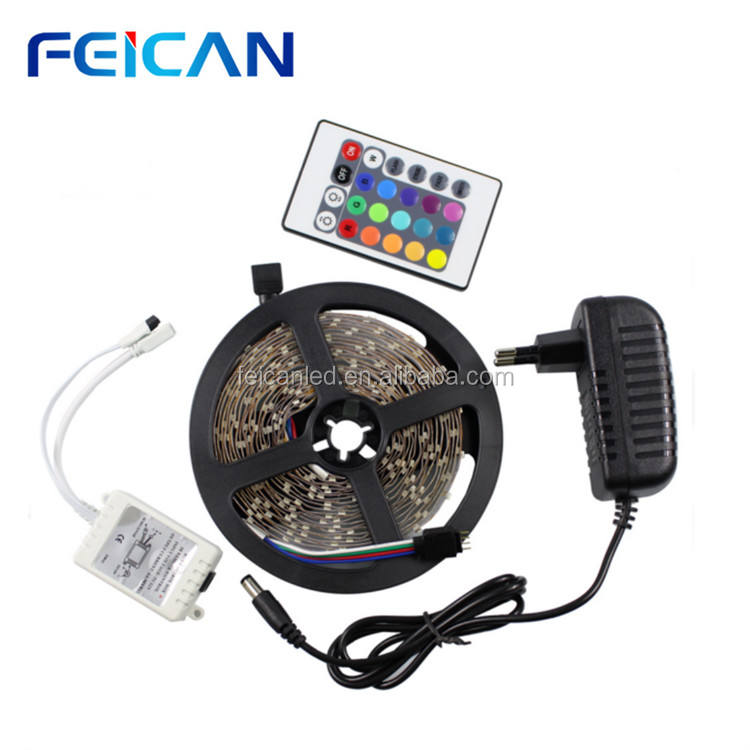 led tape light smd2835 multi color RGB IP65 waterproof strips+power supply+24keys remote controller complete set/kit
