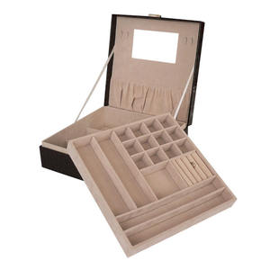 PU Leather Jewellery Box 2 Trays for Women and Girls Earring Ring Necklace Bracelet Organiser with Lock