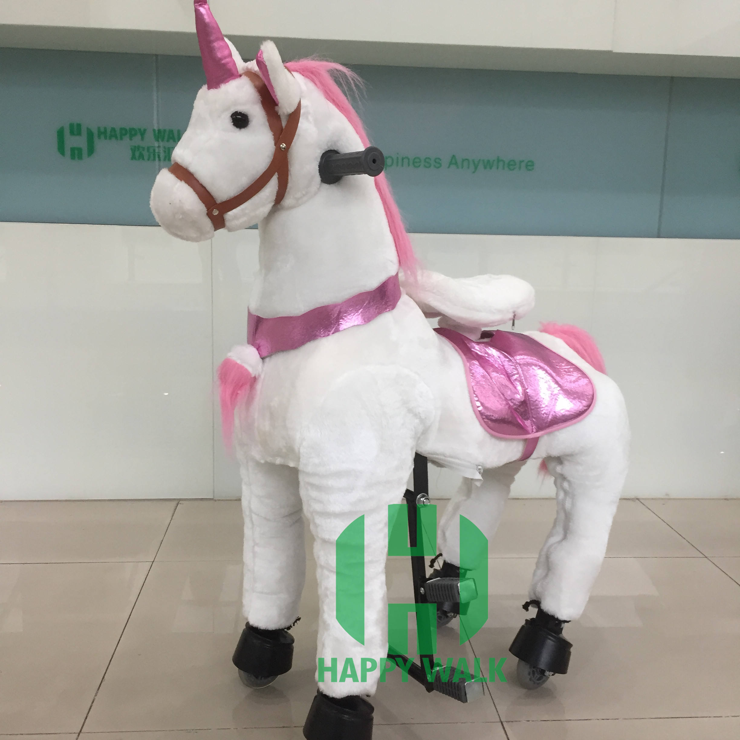 Happyisland Plush Pony Horse สกูตเตอร์ Mechanical Walking Horse ขี่ Kiddie Rides
