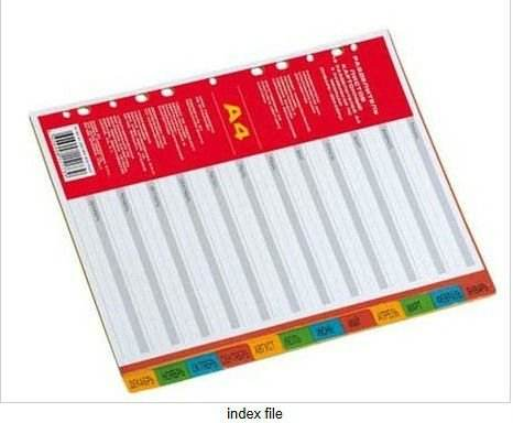 pp index file with plastic tab