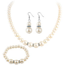 Gold Plated Elegant Fashion Inlaid Crystal Jewelry Sets Imitation Pearl Earrings Necklaces Ring Set For Women
