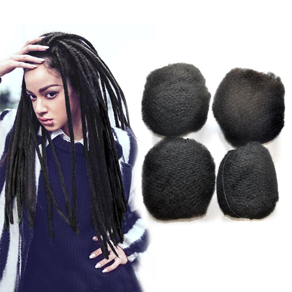 Human Hair Can be Dyed Tight Afro Kinky Bulk Hair 100% Human Hair For DreadLocks,Twist Braids 4pieces/Packs Natural Black