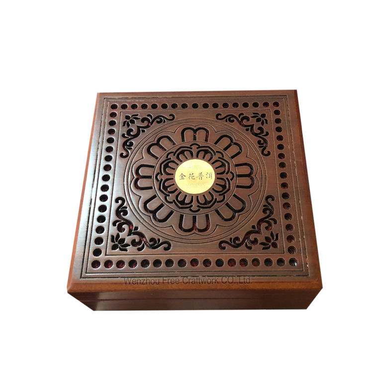 Custom 다 logo MDF jewellery 나무 chinese style gift box in 포장 matte printed coin 나무 <span class=keywords><strong>상자</strong></span>