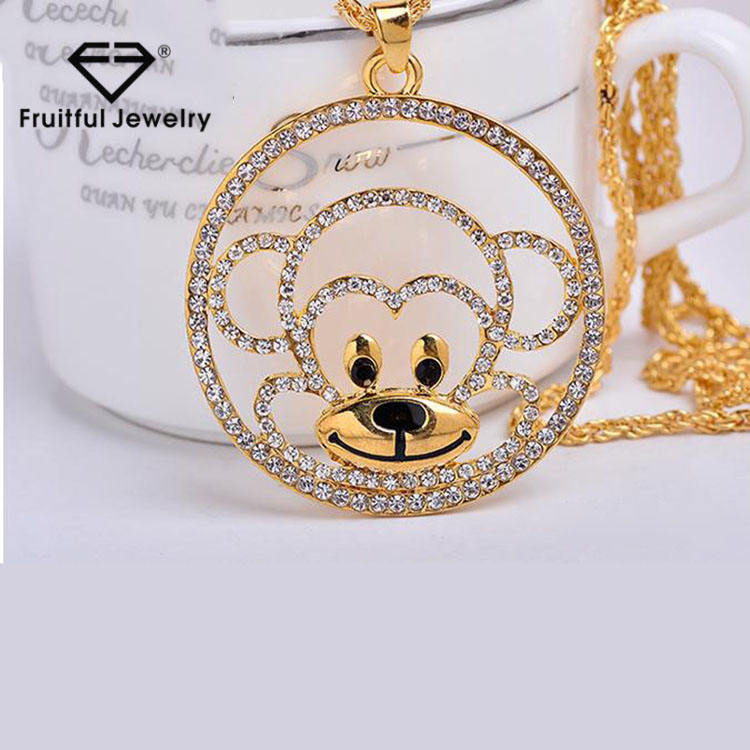 Monkey diamond high - grade women monkey long decorated necklace sweater chain gifts