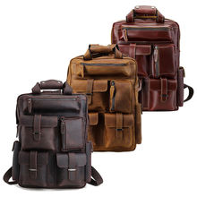 Tiding Men's Full Grain Genuine Leather Rucksack Retro Laptop Real Leather Backpack Bag For 16 Inches