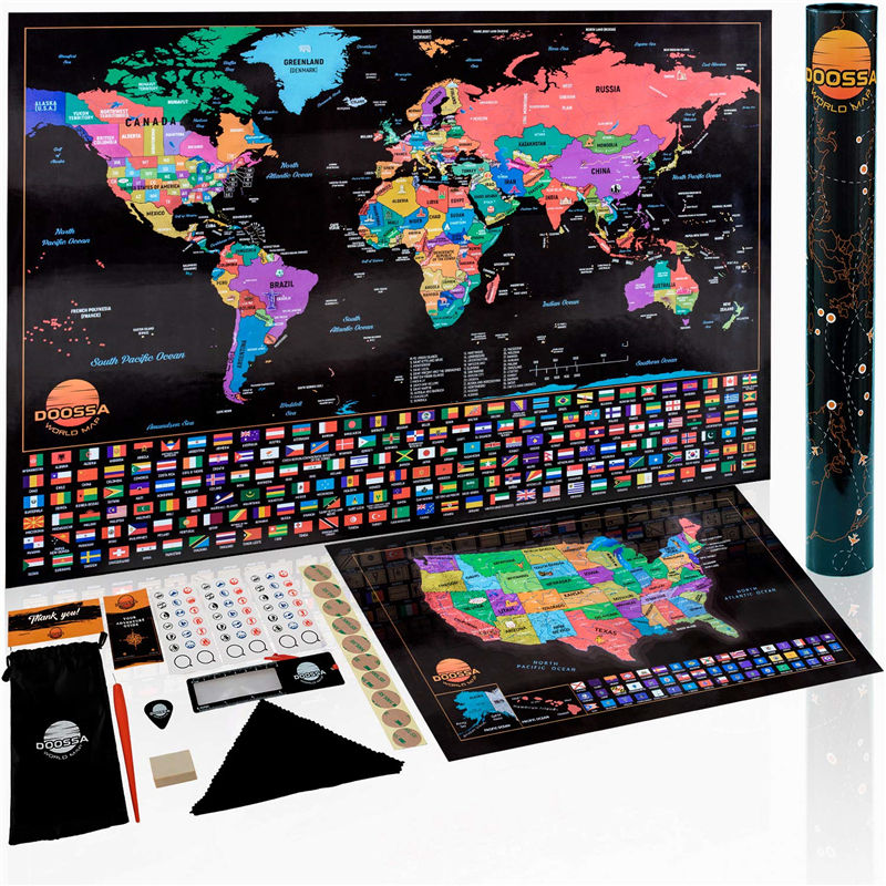 Deluxe Scratch Off Map von The World Scratch Off World Map Poster und US Scratch Off Travel Map B0NUS mit Defined States Perfect