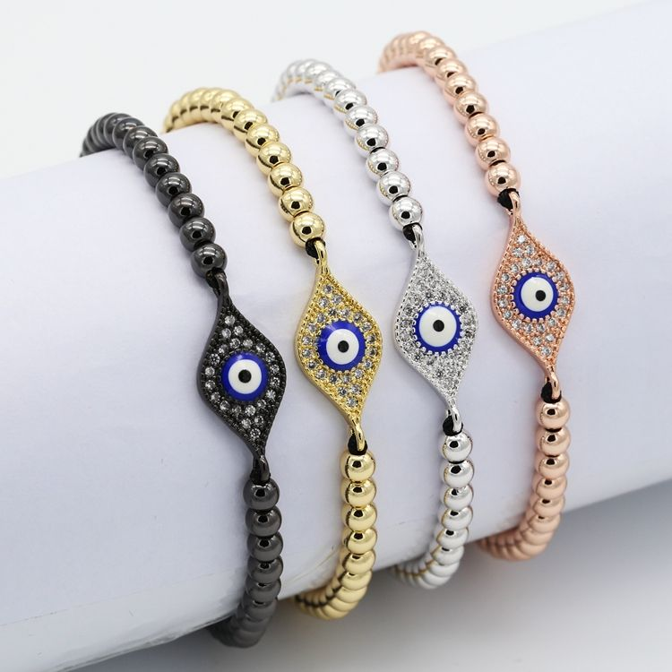 Cheap price 18K gold plating evil eyes wholesale turkish jewelry zircon brass beads bracelet