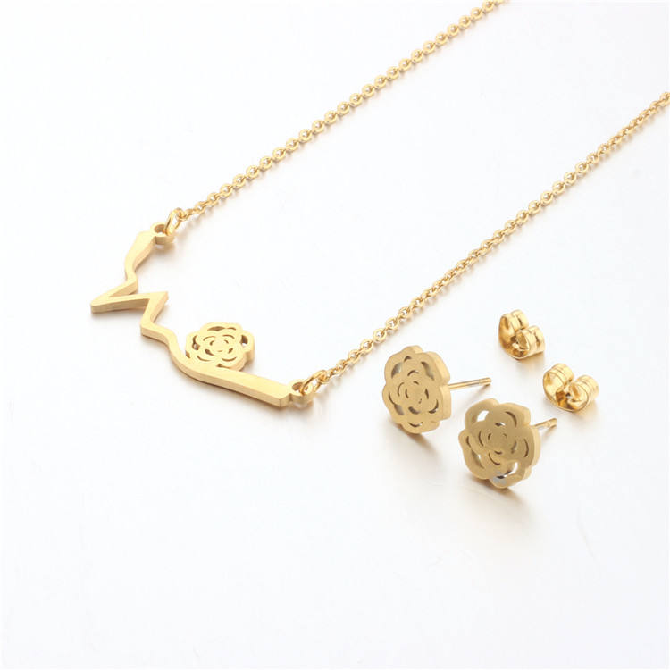 Latest fashion rose flower design jewellery gold plated stainless steel jewelry set