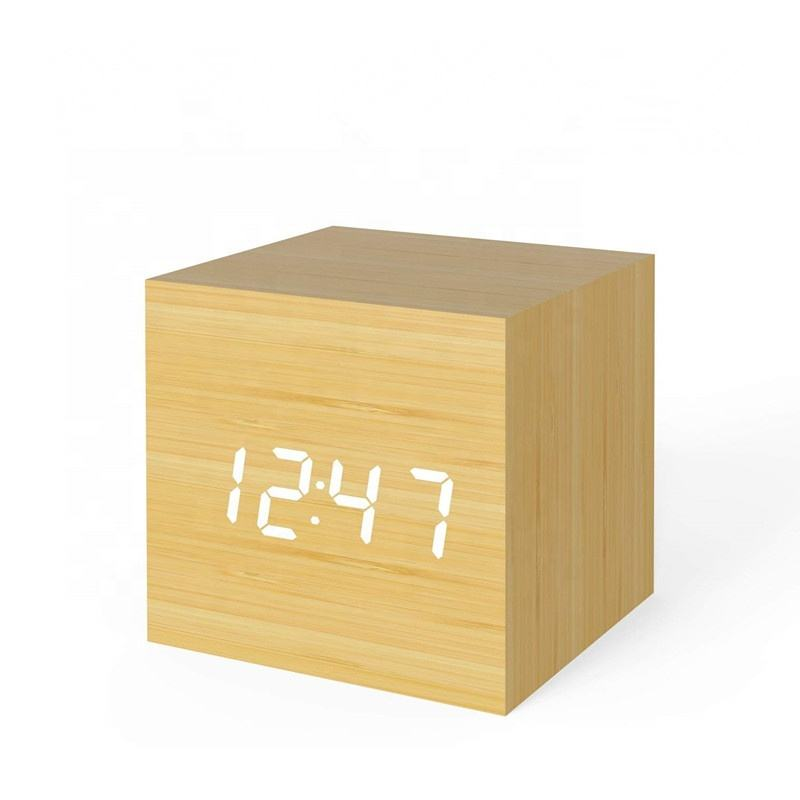 Wood LED Light Mini Modern Cube Desk Alarm Clock Displays Time Date Temperature Kids, Bedroom, Home, Dormitory